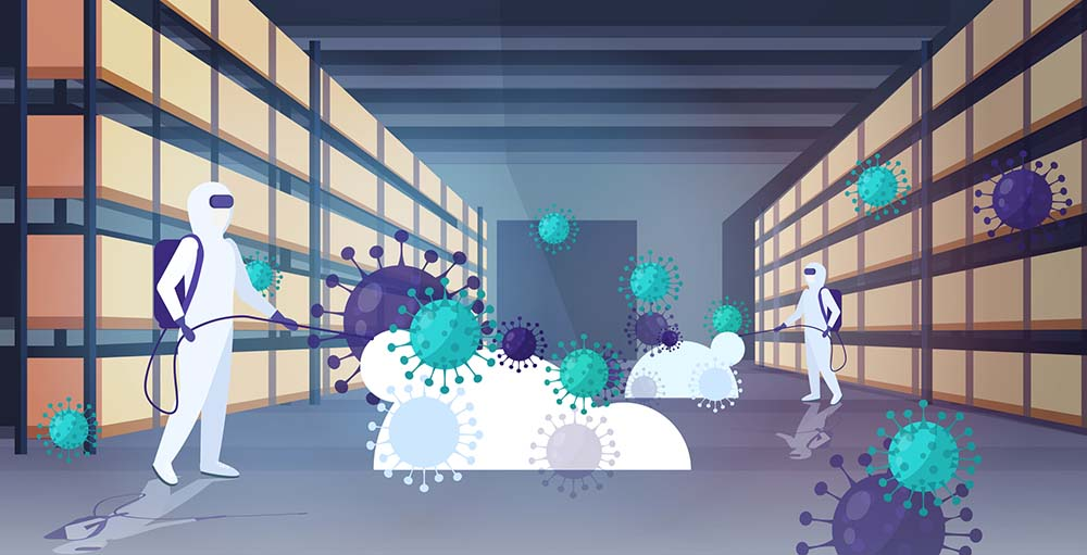 specialists in hazmat suits cleaning disinfecting coronavirus cells epidemic MERS-CoV warehouse interior wuhan 2019-nCoV pandemic health risk full length horizontal vector illustration